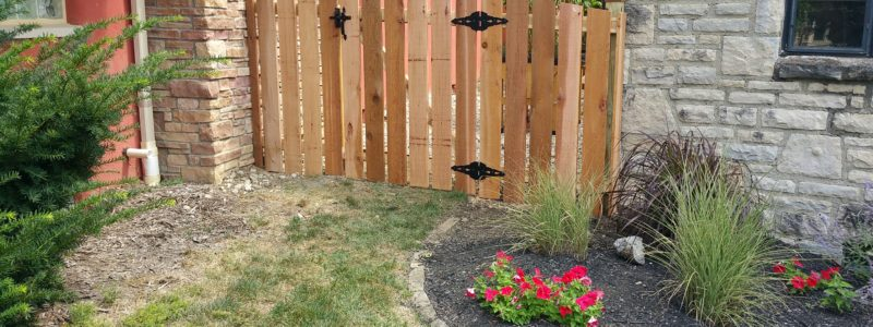 5ft high arched cedar picket fence